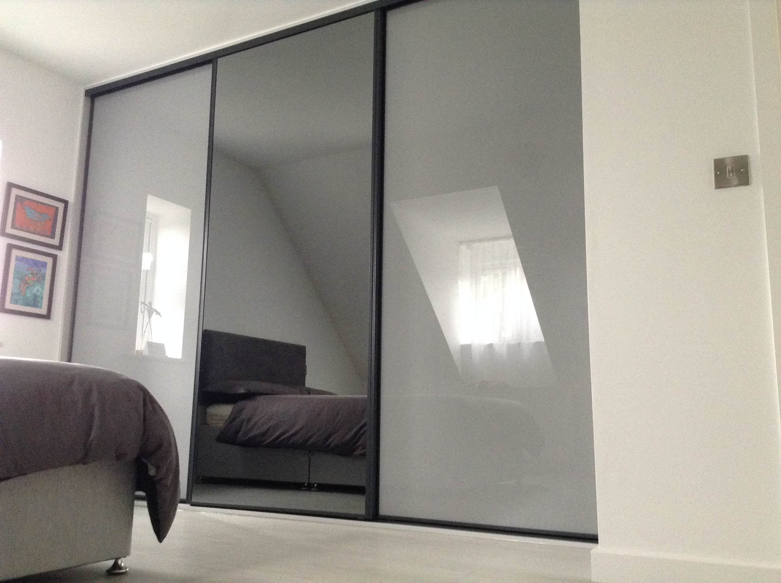 Sliding Door Unit - Anthracite Frame with Grey Mirror & Grey Glass